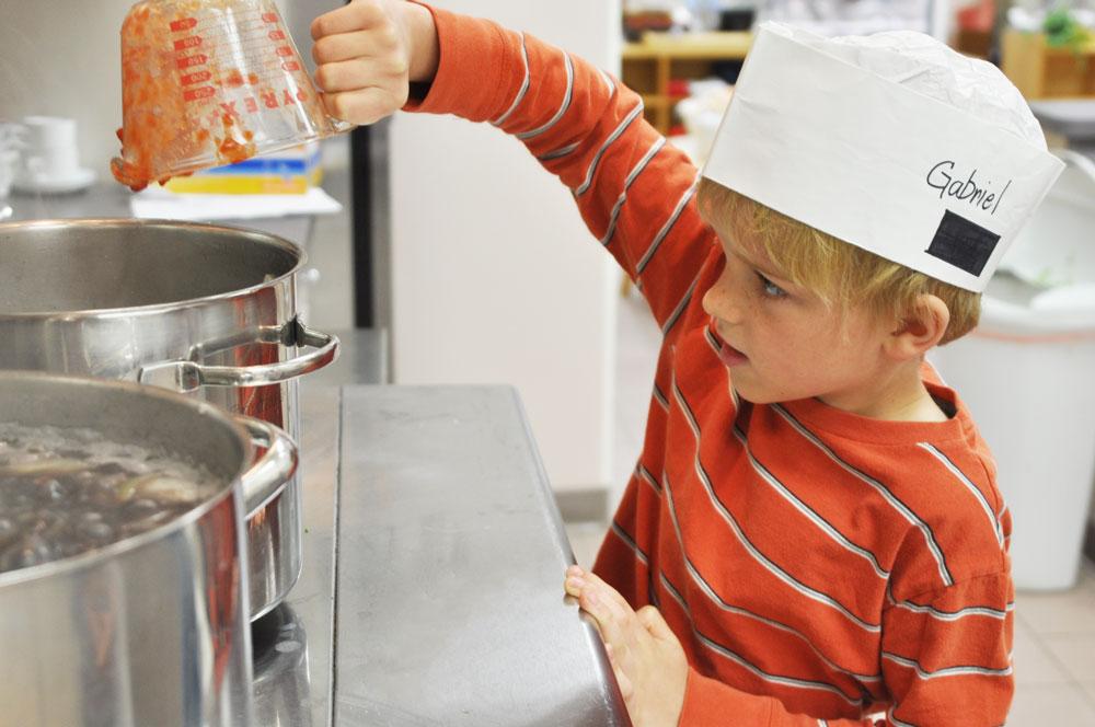 Montessori Elementary Student Cooking