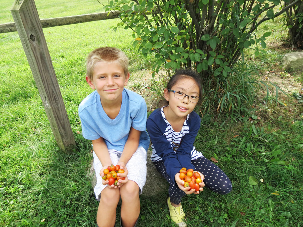 Montessori Elementary Students in the Garden