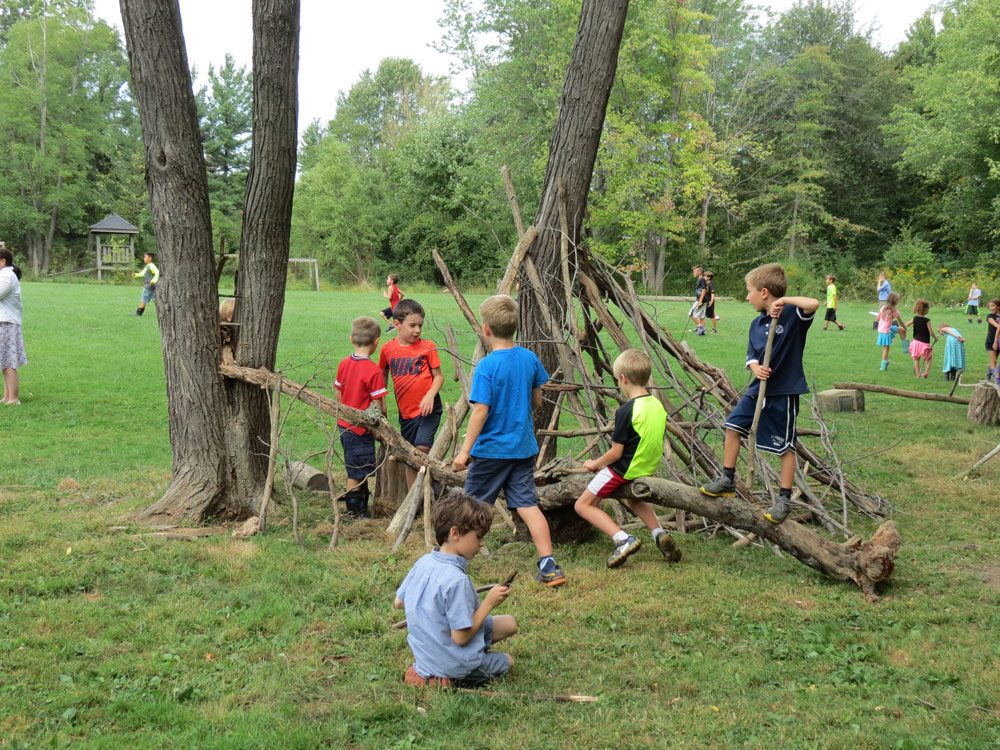 Elementary Children in Nature: Stick City at Hershey Montessori