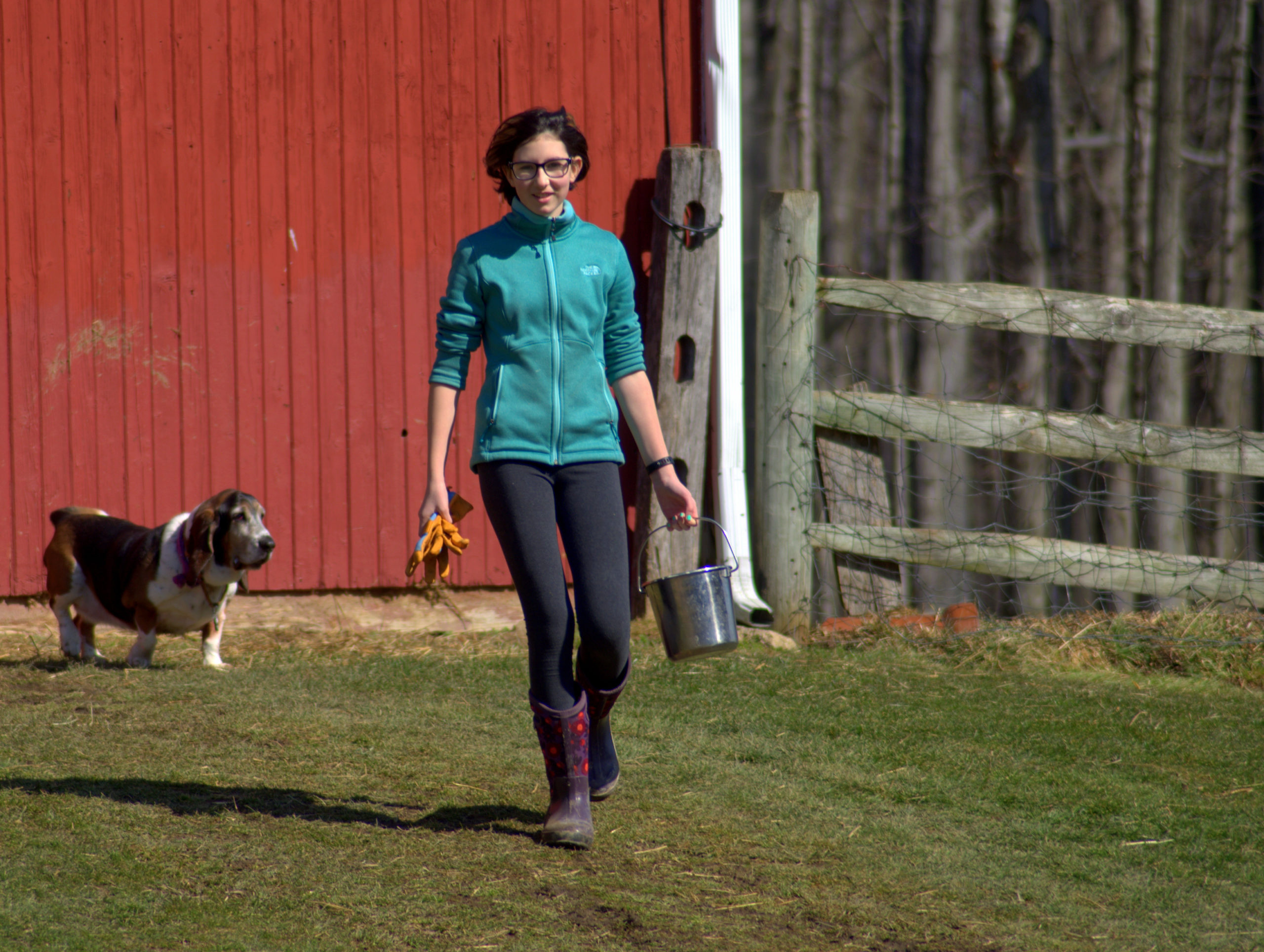 boarding student working on the farm